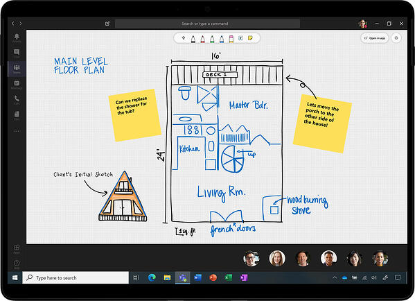 Whiteboard in Microsoft Teams to share content.